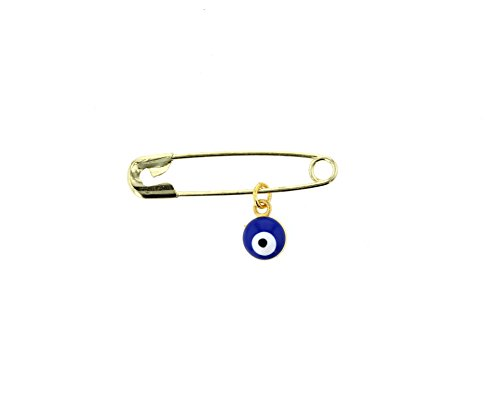 Evil Eye, Glass Evil Eye Charm With Stainless Steel Safety Pin To Hook (Gold Color (Gold Diamond Diaper Pin)