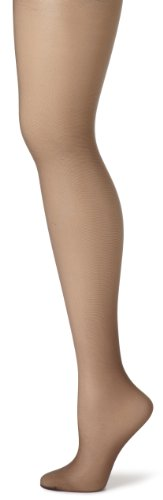 Hanes Women's Control Top Sheer Toe Silk Reflections Panty Hose, Barely Black, E/F