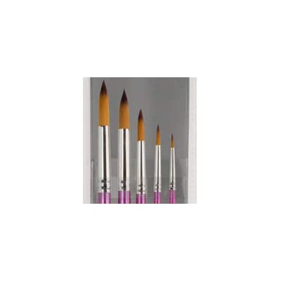 Creative Inspirations Dura-HandleArtist Paint Brushes Long Solid Resin Handle Resists Chips & Cracks - Round [Set of 5]