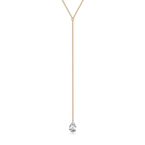 - Rose Gold over 925 Sterling Silver Lariat Y Necklace with CZ Droplet, 18