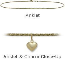 10K Yellow Gold 10'' Curb Style Anklet with 9mm Heart Charm by Elite Jewels