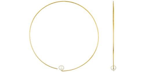 Melissa McArthur Boucles d'oreilles créoles perle argent 925 vermeil, 2.1g, Ø65mm