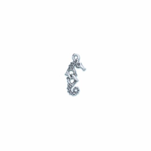 (Shipwreck Beads Pewter Sectional Seahorse Charm, Silver, 10 by 26mm,)