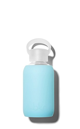 bkr - BEST Original Glass Water Bottle - Premium Quality - Soft Silicone Protective Sleeve - BPA Free - Dishwasher Safe (8oz/ 250ml)-Skye - Periwinkle