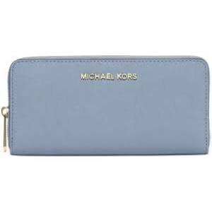 0a7456fac42b Michael Kors Jet Set Travel Zip-Around Large Pale Blue Saffiano Leather  Continental Wallet by