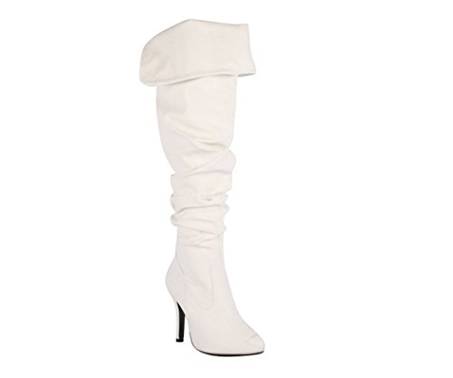 Forever Link Women's Over Knee High Sexy Boots-33,White,7 -