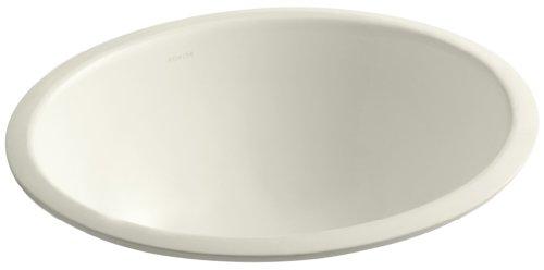Kohler 2205-G-96 Ceramic undermount Oval Bathroom Sink, 20.88 x 17.88 x 9 inches, White (Caxton Biscuit Kohler)