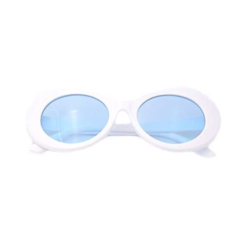 JUSLINK Bold Retro Oval Mod Thick Frame Sunglasses Round Lens Clout Goggles ()