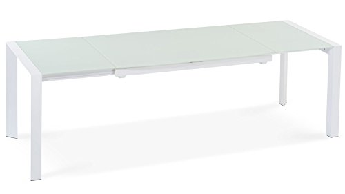 (Zuri Furniture Alton Extending Modern Dining Table with White Glass)