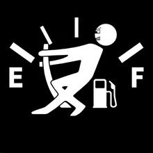 DECAL ADDICTION, INC | Pulling On Gas Empty Full JDM Funny WHITE Vinyl Car/Laptop/Window/Wall Decal