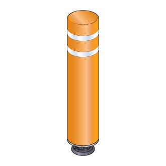 48 in. Orange Gorilla Post Magnetic Bollard with 2 White Reflective Stripes, Add On Kit