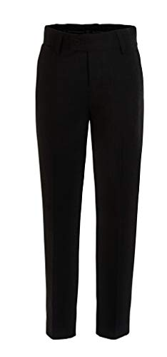 RGM Boys Dress Pants Flat-Front Slim fit - Poly Rayon Slacks Giovanni Uomo Black 18]()