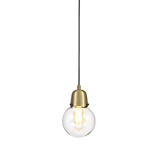 Satin Pendant Clear Gold (Rivet Mid-Century Gold Plug-In Pendant, 9.75