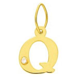 So Chic Bijoux © Pendentif Lettre Q Initiale Alphabet Diamant Blanc Or Jaune 750/000 (18 carats)
