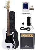 Crescent Electric Bass Guitar Starter Kit - White Color (Includes Amp & CrescentTM Digital E-Tuner)