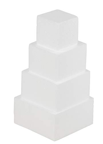 Square Cake Dummy - 4-Piece Polystyrene Foam Dummy Cake, Fake Foam Wedding Cake, for Wedding Display Window, Decorating Competition, 5.625, 5, 4, 3 Inches Square, Total 12 Inches Tall