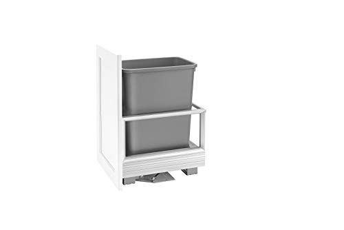 Rev-A-Shelf - 5149-15DM18-117 - Single 35 Qt. Pull-Out 18 in. D Brushed Aluminum and Silver Waste Container with Rev-A-Motion