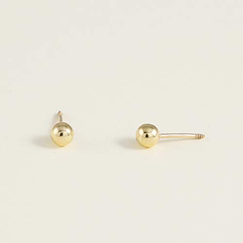 14K Yellow Gold Ball Stud Piercing Earrings 4mm For Women and girls - Hypoallergenic piercings Jewelry for Sensitive Ears by Balluccitoosi
