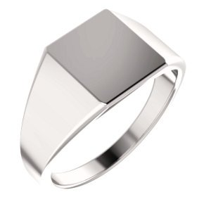Men's Hollow Rectangle Signet Ring, 18k White Gold (11X10MM), Size 12 by The Men's Jewelry Store (Image #6)