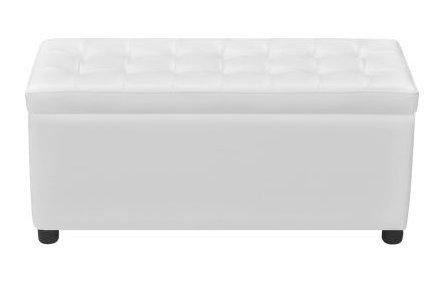 SKB Family Storage Ottoman Artificial Leather White Button-tufted