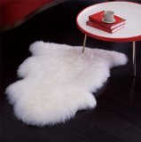 Genuine Bowron Sheepskin Rug Single Pelt Ivory White Fur, Approx. 2ft x 3ft Review