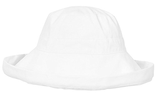 Simplicity Summer Solid Cotton Bucket Hat Cap with Big Fold-Up Brim, White (Packable Cotton)