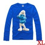 Cute The Smurf Style 100% Cotton Long-Sleeve T-Shirt-Brainy Smurf Pattern/Size XL
