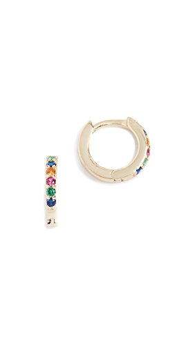 Shashi Women's Rainbow Katerina Pave Huggie Earrings, Rainbow, Gold, One Size (Vermeil Huggie Earrings)