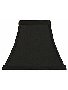 Upgradelights Square Bell 6 Inch Clip On Chandelier Lampshade 3x6x6 (Black with Gold) (Hide Lamp Shades)