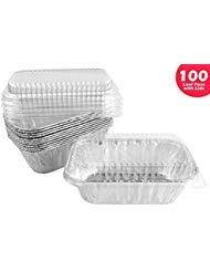 Handi-Foil 1 lb. Aluminum Mini-Loaf/Bread Baking Pan w/Clear Low Dome Lid 100/Pk (pack of 100) - Foil Loaf Pans