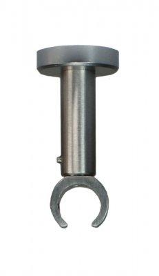 Deckenträger für Gardinenstangen mit 20 mm Durchmesser in Edelstahloptik - variabler Deckenabstand