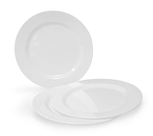 OCCASIONS 120 Plates Pack, Heavyweight Disposable Wedding Party Plastic Plates (10.5 Dinner Plate, Plain White)