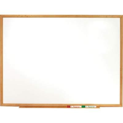 Standard Dry-Erase Board, Melamine, 48 x 36, White, Oak Finish Wood Frame