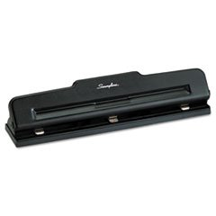 "-- 10-Sheet Desktop Three-Hole Adjustable Punch, 9/32"" Holes, Black"