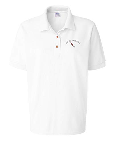 (Custom Text Embroidered Ice Fishing Jig Women Adult Button-End Spread Short Sleeve Cotton Polo Shirt Golf Shirt - White, Small)