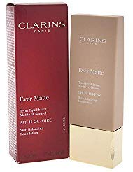 Clarins Ever Matte Skin Balancing Oil Free Foundation SPF 15, No. 107 Beige, 1.1 Ounce (Best Foundation Ever For Oily Skin)
