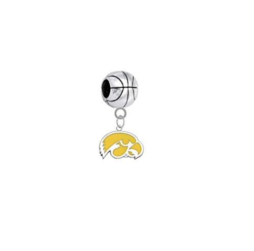 Iowa Hawkeyes Style 2 Basketball 3D Universal European Bracelet Charm -