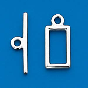 Sterling Silver 12.25x5mm Solid Rectangular Toggle Clasp Set