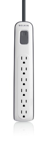 Belkin 6-Outlet AV Power Strip Surge Protector with 2.5-Foot Power Cord, 600 Joules (BV106000-2.5)