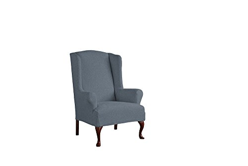 Serta 1 Piece Reversible Stretch Suede T Wingback Chair Slipcover, Steel Gray Herringbone/Gray Solid by Serta (Image #1)