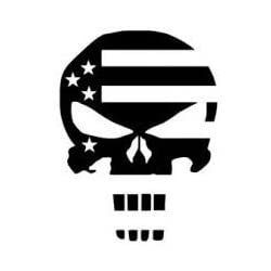 Punisher Skull American Flag Decal Vinyl Sticker|Cars Trucks Vans Walls Laptop| Black |5.5 x 4 in|CCI1264
