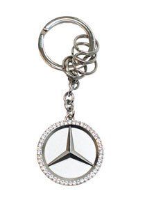 (Mercedes Benz Star Key Ring w/Swarovski Crystals)