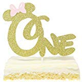 First 1st One Year Birthday Cake Topper - Gold Glitter Minnie Mouse Bow Birthday Cake -