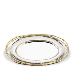 L'Objet Evoca Large Oval Platter, 24kt Gold Bamboo Trim - Gold Trim Bamboo