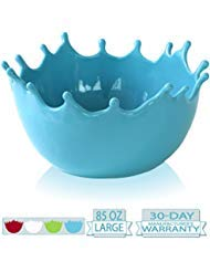 Premium Large Salad Bowl - Serving Bowl - Fruit Bowl - Candy Dish - Decorative Centerpiece Bowl - Best for Serving Fruit Salad Candy Popcorn Punch Chips Pasta - Unique Modern Design - Ceramic (Blue) ()