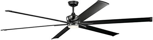 Kichler Drapes (Kichler 300302SBK Szeplo Patio LED Ceiling Fan with Lights, 96-inch, Satin Black)