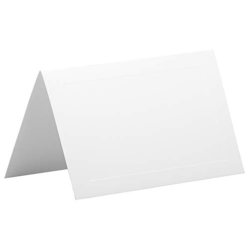 JAM PAPER Foldover Wedding Table Place Cards - 2 3/16 x 3 3/8-80lb Strathmore Cover Panel Bright White Wove - 25/Pack