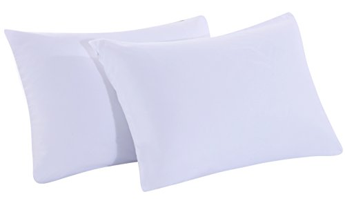 Zippered Pillowcases Queen White Soft and Durable Brushed Microfiber 1800 Plush Experience Machine Washable Pack of 2