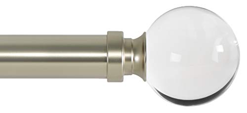 Ivilon Drapery Treatment Window Curtain Rod - Acrylic Ball 1 inch Pole. 28 to 48 Inch. Satin Nickel