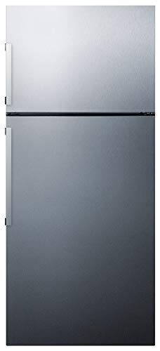 Summit FF1512SSIM 28 Inch Wide 12.6 Cu. Ft. Capacity Energy Star Certified Free Standing Refrigerator with Door Alarm and Ice Maker